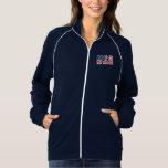 Custom USA Flag Women's Fleece Track Jacket