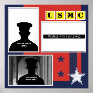 Custom USMC Stars Photo Collage Poster