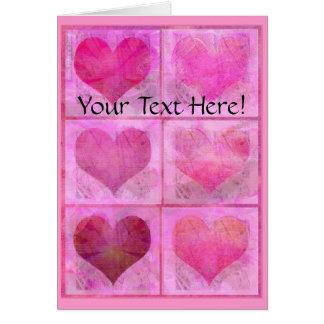 Custom Valentine Hearts Quilt Greeting Card
