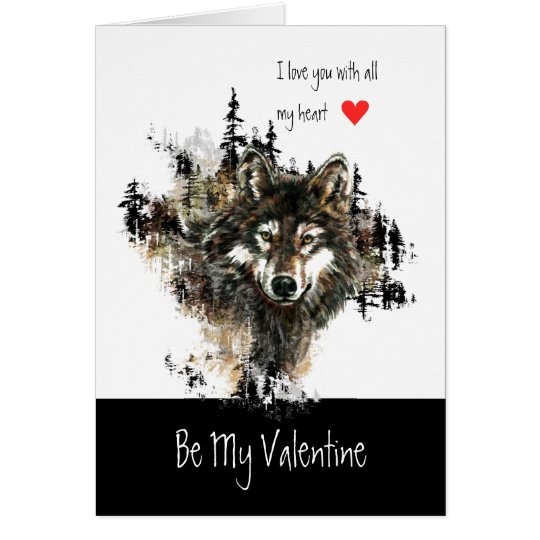 Custom Valentine Love Heart Wolf Animal Nature Art Card