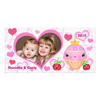 Custom Valentine Princess Cupcake Photo Card