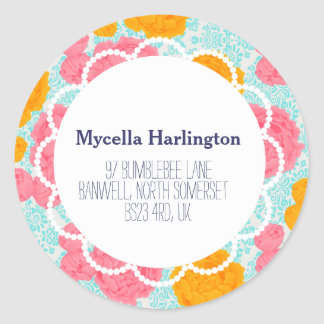 Custom Vibrant VIntage Floral Return Address Label Round Sticker