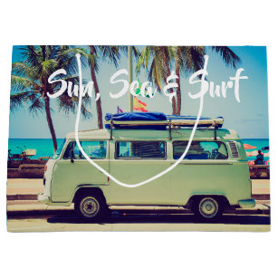 Custom, vintage beach camper bus and palm trees: large gift bag
