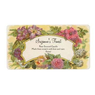 Custom Vintage Floral Candle or Canning Jar Label