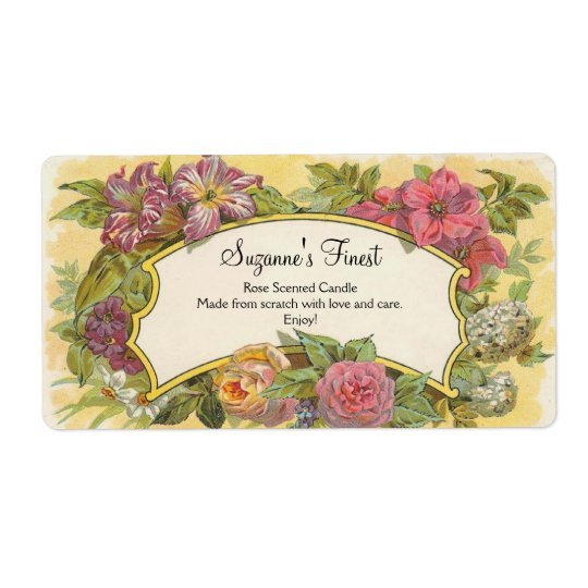 Custom Vintage Floral Candle or Canning Jar Label