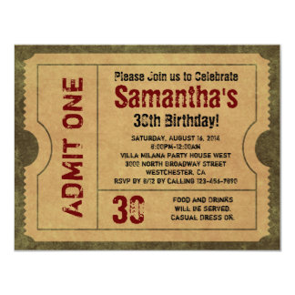 Custom Vintage Gold Admit One Ticket Invitations