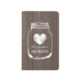 Custom vintage heart rustic wood grain mason jar journal