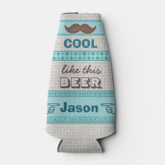Custom Vintage Hipster Moustache Bottle Cooler
