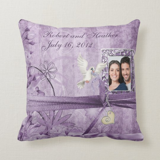 Custom Vintage Lavender Photo Wedding Throw Pillow