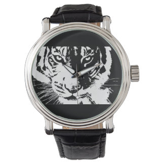 Custom Vintage Leather with print Tiger Watch
