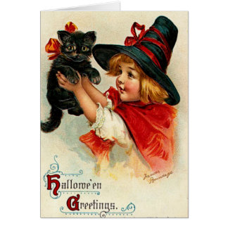 Custom Vintage Little Witch and Black Cat Card