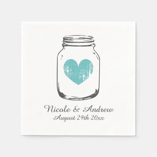 Custom vintage monogram mason jar wedding napkins paper