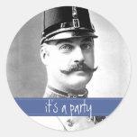 Custom Vintage Moustache / Moustache Party Round Sticker