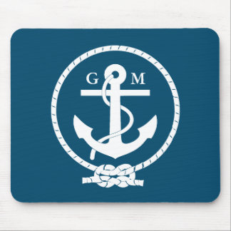 Custom Vintage Nautical Anchor and Line Mouse Mat