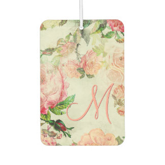Custom Vintage Pretty Pink Floral Roses Pattern Car Air Freshener