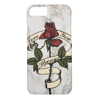 Custom Vintage Rose Banner Marble Cell Phone Case
