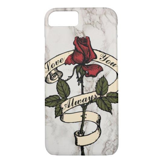Custom Vintage Rose Banner Marble Cell Phone Case