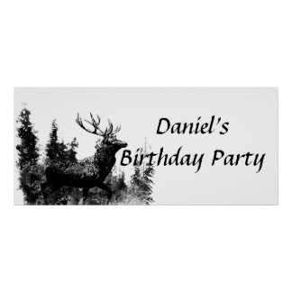 Custom Vintage Stag Birthday Party Banner Poster