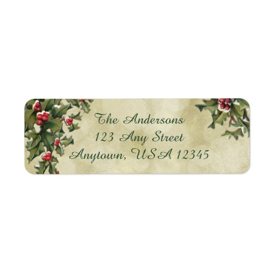 Custom Vintage Style Holly on Gold Background Return Address Label