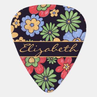 Custom Vivid Colorful Flowers to Personalize Plectrum