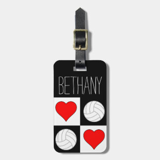 Custom Volleyball & Heart Red/White/Black Bag Tags