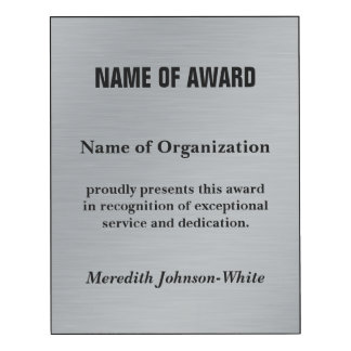 Custom Volunteer Recognition Award (Silver)