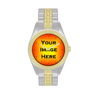 Custom Watch With Black Dots Yellow Edged 1px