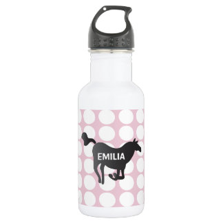 Custom Water Bottle with Dots, Horse & Name