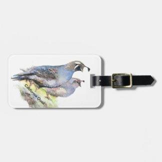 Custom Watercolor California Quail birds Bag Tag