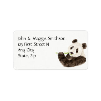Custom Watercolor Cute Panda, Asian Bear, Animal Address Label