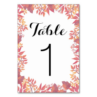 Custom Watercolor Fall Table Signs Card
