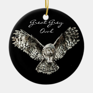 Custom Watercolor Great Grey Owl Bird, Animal Christmas Ornament