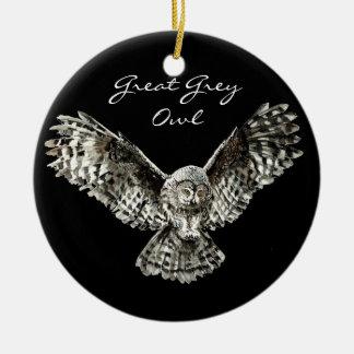 Custom Watercolor Great Grey Owl Bird, Animal Round Ceramic Decoration