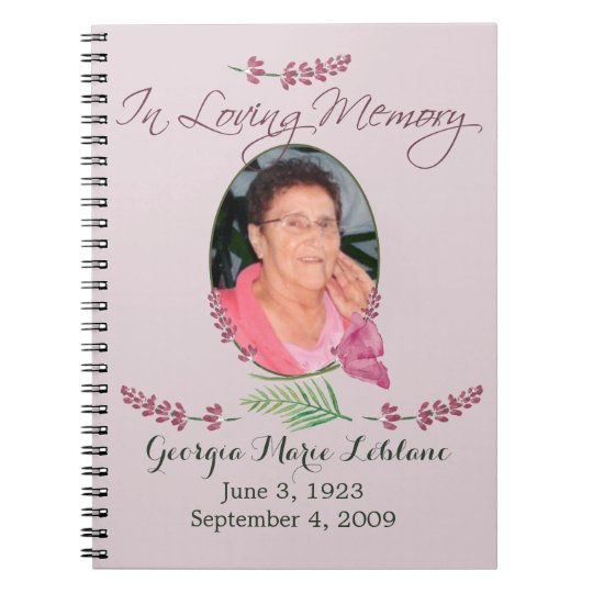 Custom Watercolor Lavender Memorial Guest book Spiral Note