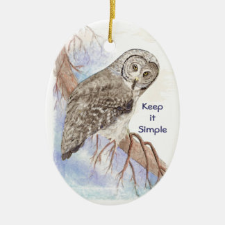 Custom Watercolor Owl Dated Keep it Simple Quote Ceramic Oval Decoration