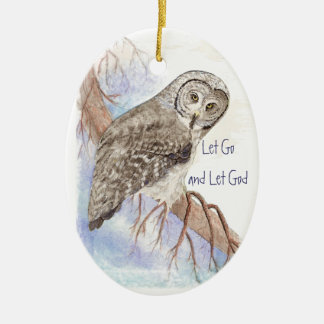 Custom Watercolor Owl Dated Let Go and Let God Christmas Ornament