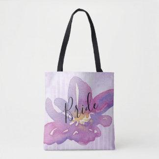Custom Watercolor Violet Lavender Floral Bride Tote Bag