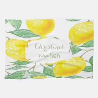 Custom watercolored lemons on white tea towel