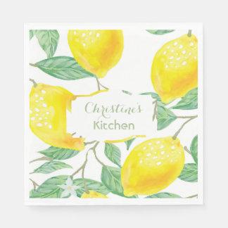 Custom watercolored yellow lemons on white text disposable serviette