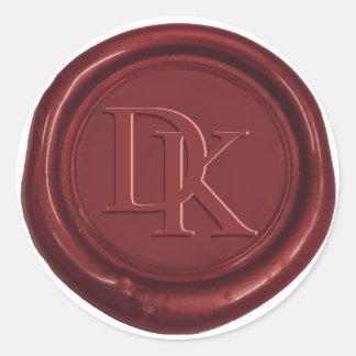 Custom Wax Seal Wine Red Monogram Wedding Round Sticker
