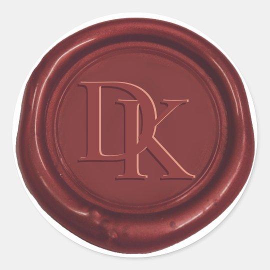 Custom Wax Seal Wine Red Monogram Wedding Round