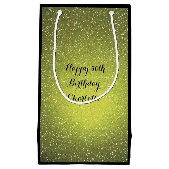 Custom Wedding Birthday Greenly Black Glitter Small Gift
