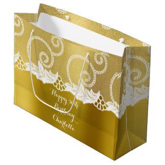 Custom Wedding Birthday Mustard Yellow White Lace Large Gift Bag