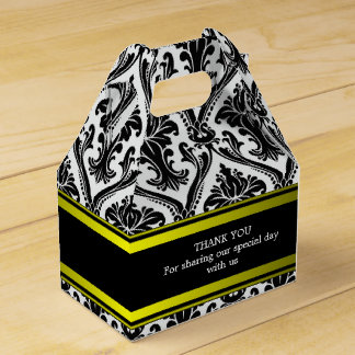 Custom Wedding Black Damask Gable Favour Box