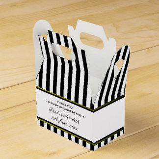 Custom Wedding Black Stripes Gable Favour Box