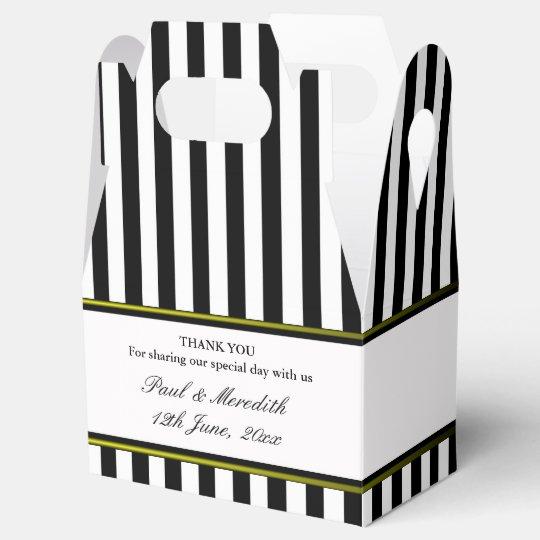 Custom Wedding Black Stripes Gable Favour Box