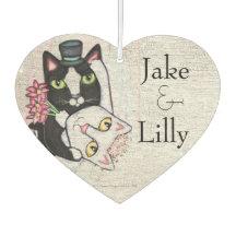 Custom Wedding Cats Heart Air Freshener Favour