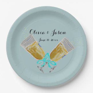 Custom Wedding Champagne Toast Teal 9 Inch Paper Plate