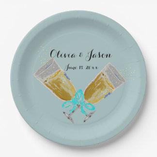 Custom Wedding Champagne Toast Teal Paper Plate