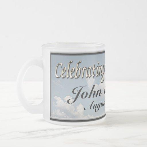 Custom Wedding Coffee Cup Frosted Glass Mug